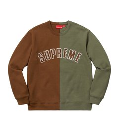 Supreme 18FW Split Crewneck Sweatshirt 双色拼接套头卫衣图片