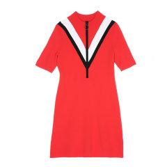 MO&Co./摩安珂女士连衣裙中短袖V型半开襟套头修身中长款针织连衣裙MA171DRS301图片