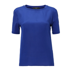 【17春夏新品】MaxMara/麦丝玛拉 桑蚕丝纯色圆领女士短袖T恤  AGGRAVI59410567图片