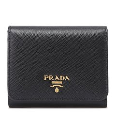 PRADA/普拉达 女士牛皮压纹LOGO折叠按扣零钱包短款钱夹卡包 多色可选图片