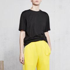 MO&Co./摩安珂女士短袖T恤2018新品圆领斜抽绳纯棉短袖T恤女MA181TEE206图片