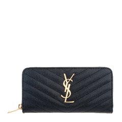 Yves saint Laurent/圣罗兰 女士牛皮斜纹长款拉链钱包358094 BOW01图片