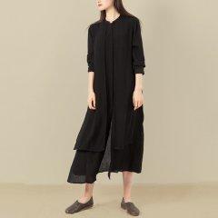 DONGJINGJI/东景记 女士连衣裙 前胸挂片长款衬衫裙图片