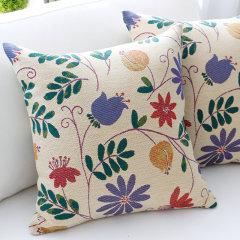 ekelund瑞典设计爱蔻莱美式田园纯棉提花抱枕办公靠垫腰枕图片