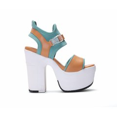 RucoLine/RucoLine 19春夏新品 Ophelia系列撞色牛皮拼接织物女士高跟凉鞋图片