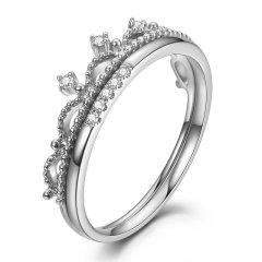 DEMONE/黛慕妮 钻戒18k金皇冠钻石戒指 群镶女戒 一款多戴图片