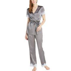 【DesignerWomenwear】LILYSILK/莉莉秀客女睡衣/家居服真丝家居服套装蕾丝短袖女桑蚕丝睡衣舒适丝绸睡袍式睡衣图片