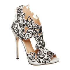 LA PERLA/萝贝拉 绸缎面水晶花卉高跟凉鞋图片