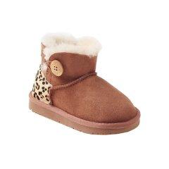 Ozwear ugg 秋冬儿童防水木扣短筒靴皮毛一体羊毛保暖雪地靴 OB056男童女童图片