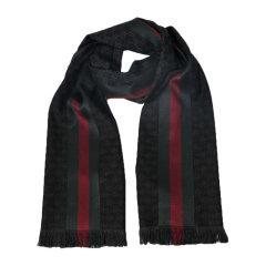 GUCCI/古驰 男女同款 中性时尚拼接双G LOGO羊毛丝绸围巾丝巾围脖 147351-4G704-1166