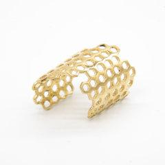 DONGWEI/冬尾立体六边形系列个性简约装饰几何蜂巢造型18K金三色戒指图片