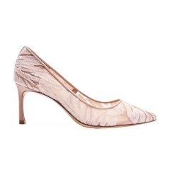 【买两双赠凉鞋】73hours/73hours Grace 女士蕾丝布高跟鞋女细跟浅口性感亮片婚鞋图片