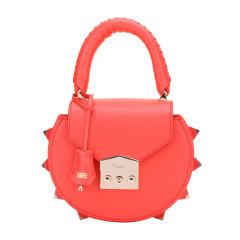 SALAR/SALAR女士铆钉纯色牛皮手提包小圆包单肩包斜挎包女包SR18MIBG暖橙色图片