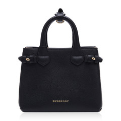 BURBERRY/博柏利巴宝莉黑色牛皮经典格纹拼接包身女士手提单肩两用包,4014071 BLACK WOMAN BAG图片