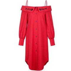 YE'SbyYESIR/YE'SbyYESIR官方直营设计师叶谦原创中国红刺绣吊带衬衫连衣裙女士连衣裙图片
