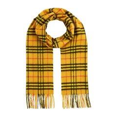 【包税】BURBERRY/博柏利 女士黄色格子羊绒围巾围脖 4080017图片