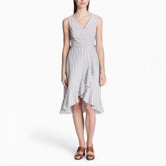 Calvin Klein/卡尔文·克莱因 女士条纹V领不规则裙摆连衣裙 18808026图片