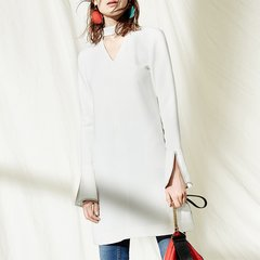 MO&Co.edition/MO&Co.edition喇叭袖连衣裙女春V领镂空开衩直身EA171DRS120moco女士连衣裙图片