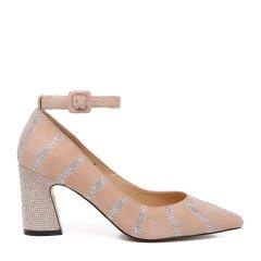BENATIVE/本那2018春夏新品一字带高跟鞋 时尚简约反羊绒皮镶钻浅口单鞋女士跟鞋图片