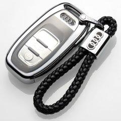 pinganzhe 奥迪软胶2018新款钥匙壳适用于奥迪钥匙包A6L/A8汽车钥匙扣A4L钥匙套A7A5壳S6/S5Q5 奥迪 送两个奥迪牛皮钥匙链图片