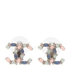 CHANEL/香奈儿 女士彩色水晶镶嵌双C耳钉图片