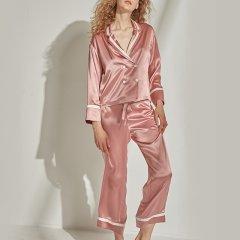 【Designer Womenswear】 SANGLUO/桑罗 18秋冬新品V领拼接真丝睡衣 长袖睡衣三件套装 女睡衣/家居服图片
