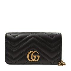 GUCCI 古驰   GG MARMONT系列 女士牛皮绗缝GG标识金色链条单肩斜挎包绿色图片