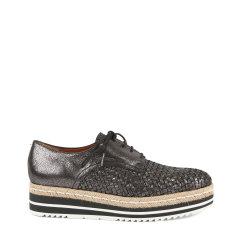 BLOCCO 5/BLOCCO 5羊皮革面编织款圆头系带低帮厚底女士平跟鞋图片