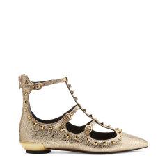 BLOCCO 5/BLOCCO 5进口金属羊皮革面铆钉装饰尖头时尚女士平跟鞋图片