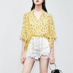MO&Co./摩安珂女士短袖衬衫真丝V领绑带碎花上衣两件套图片