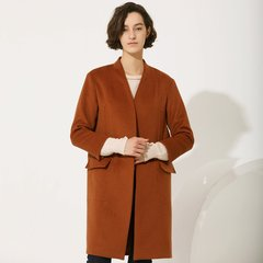 TATU/她图新款双面羊绒大衣 赫本大衣女小个子流行直筒外套潮女士大衣图片
