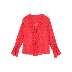 MO&Co./摩安珂女士长袖衬衫2018春季新品V领荷叶边印花雪纺长袖上衣图片