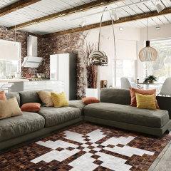 DOWNESSA舞动西西里 设计师原创毛皮拼接地毯图片