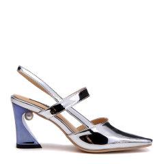 BENATIVE/本那2018春夏新品纯色方头女鞋 通勤优雅嵌珠异形高跟凉鞋图片
