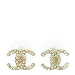 CHANEL/香奈儿  女士新款经典双C水钻耳钉耳环耳坠双色可选 A58532-CA07图片
