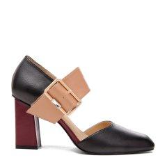 BENATIVE/本那2018春夏新品 时尚搭扣装饰圆头彩色高跟浅口单鞋图片