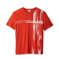 【包税】Calvin Klein/卡尔文·克莱因  男士新款休闲棉印花字母V领短袖T恤 美码偏大一码 41H5929图片