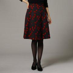 INDIVI/INDIVI 女士时尚干跟鞋印A字半身裙12773046图片