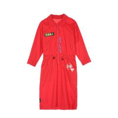 MO&Co./摩安珂女士连衣裙工装金属圆环拉链胶印英文标语橡筋腰连衣裙MA172DRS135图片