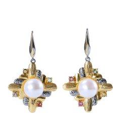 A&Y/A&Y 设计款耳饰 Western 系列 女士S925银镶珍珠耳环 粉图片