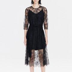 MO&Co./摩安珂女士连衣裙2019春季新品假两件绑带钩花蕾丝连衣裙MAI1DRS045图片