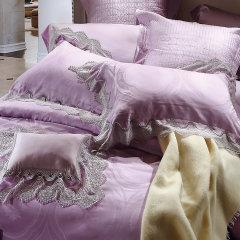 YOLANNA家纺床上用品 天丝提花婚庆蕾丝四件套床单枕头套图片