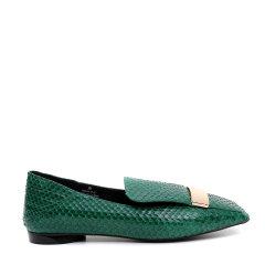 【17春夏】BENATIVE/本那简约舒适 金属装饰拼色蛇皮平跟鞋图片