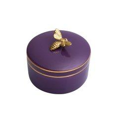bencross本心本来 生活用品 紫水晶色镀金收纳罐首饰罐糖果罐陶瓷罐 收纳装饰图片