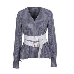 【Ontime】KANOE/KANOE/女装/女士衬衫/女士长袖衬衫/V领绑带格子衬衫图片