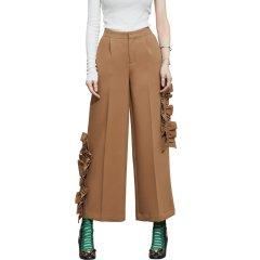 TALY&TIAN/TALY&TIAN 女士休闲裤 两侧不对称荷叶边装饰中腰九分阔腿裤图片