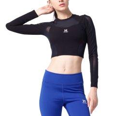 美国HOTSUIT健身上衣女2018秋季新款弹力运动紧身衣女漏肚脐上衣图片