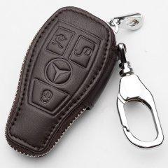 【奢品节可用券】pinganzhe 新款 奔驰 专用汽车真皮钥匙包 汽车头层牛皮钥匙套奔驰E级棕色 奔驰图片