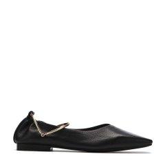 BENATIVE/本那2018春夏新品 舒适摔纹胎牛皮女士乐福鞋 性感脚环带方头低跟单鞋BN01811023图片