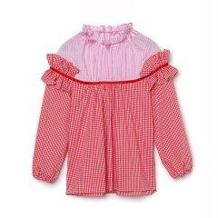 【18秋冬】MISSOSE/MISSOSE 高端童装荷叶边红色格子拼接套头衬衫上衣女童上衣图片
